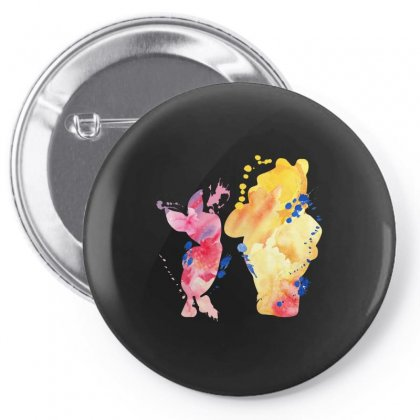 Watercolor Piglet And Winnie Pooh Pin-back Button Designed By Sengul