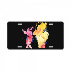 watercolor piglet and winnie pooh License Plate | Artistshot