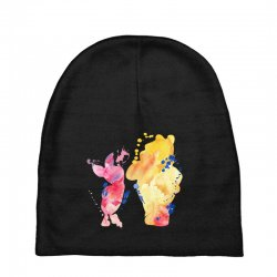 watercolor piglet and winnie pooh Baby Beanies | Artistshot