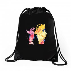 watercolor piglet and winnie pooh Drawstring Bags | Artistshot