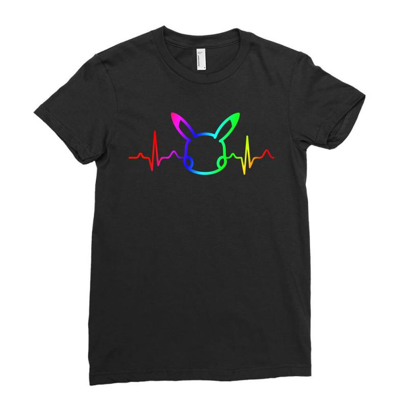Pikachu Heartbeat Rainbow Ladies Fitted T-shirt | Artistshot
