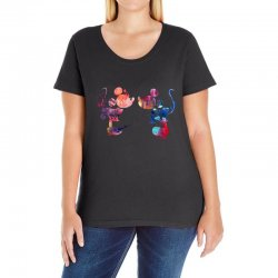 mickey and minnie mouse love watercolor Ladies Curvy T-Shirt | Artistshot