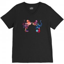mickey and minnie mouse love watercolor V-Neck Tee | Artistshot