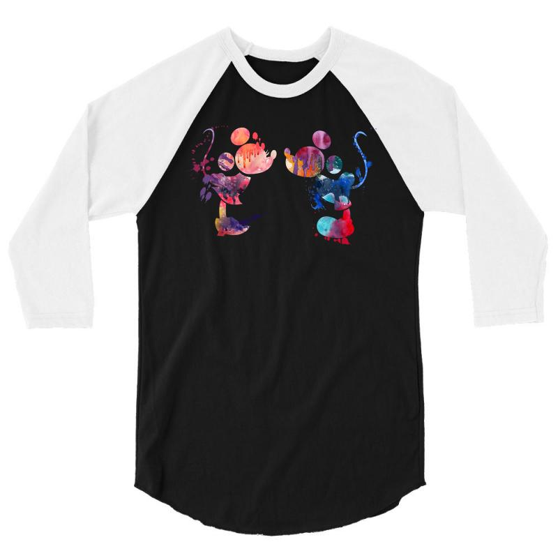 Mickey And Minnie Mouse Love Watercolor 3/4 Sleeve Shirt | Artistshot