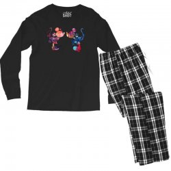 mickey and minnie mouse love watercolor Men's Long Sleeve Pajama Set | Artistshot