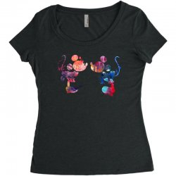 mickey and minnie mouse love watercolor Women's Triblend Scoop T-shirt | Artistshot