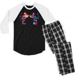 mickey and minnie mouse love watercolor Men's 3/4 Sleeve Pajama Set | Artistshot