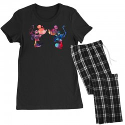 mickey and minnie mouse love watercolor Women's Pajamas Set | Artistshot
