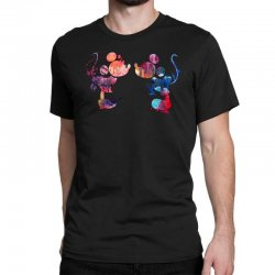 mickey and minnie mouse love watercolor Classic T-shirt | Artistshot