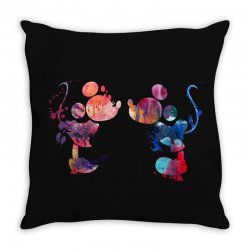 mickey and minnie mouse love watercolor Throw Pillow | Artistshot
