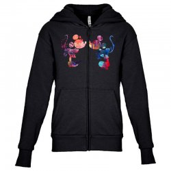 mickey and minnie mouse love watercolor Youth Zipper Hoodie | Artistshot