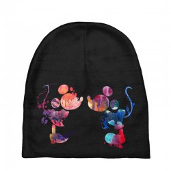 mickey and minnie mouse love watercolor Baby Beanies | Artistshot