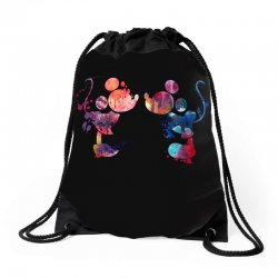 mickey and minnie mouse love watercolor Drawstring Bags | Artistshot