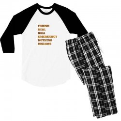 FRIEND REAL IDEA EMERGENCY NOTHING DREAMS Men's 3/4 Sleeve Pajama Set | Artistshot