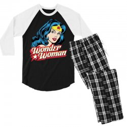 wonder woman face Men's 3/4 Sleeve Pajama Set | Artistshot