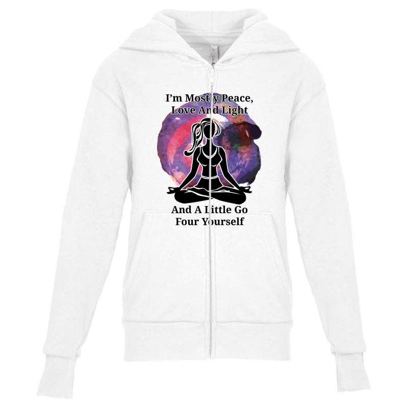 I'm Mostly Peace For Light Youth Zipper Hoodie | Artistshot