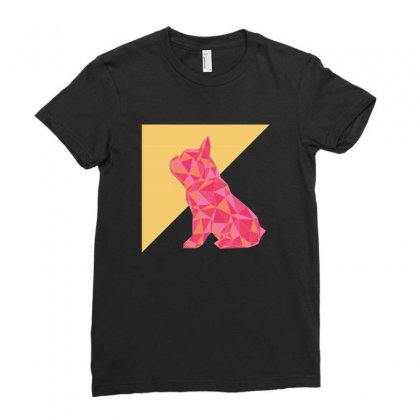 Geometric Doggy Ladies Fitted T-shirt Designed By Gurkan