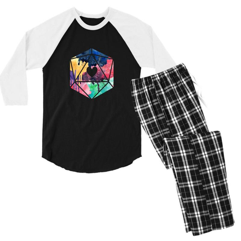 D20 Watercolor Men's 3/4 Sleeve Pajama Set | Artistshot