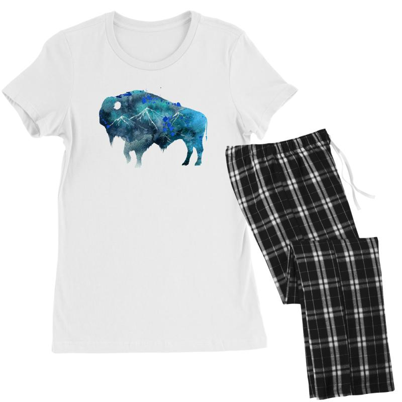 Bison Watercolor Women's Pajamas Set | Artistshot