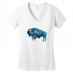 bison watercolor Women's V-Neck T-Shirt | Artistshot