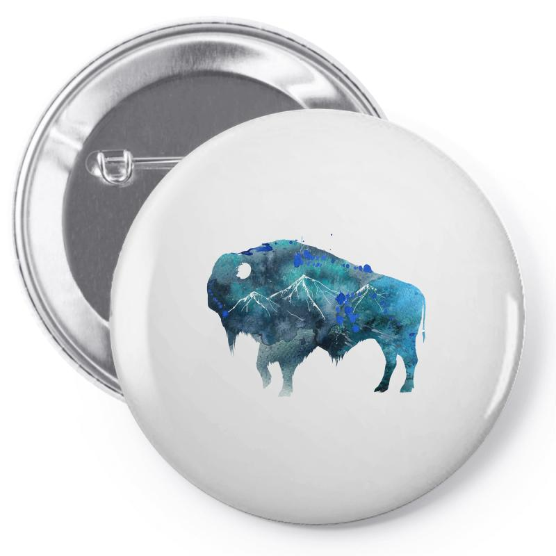 Bison Watercolor Pin-back Button | Artistshot