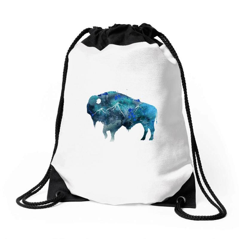 Bison Watercolor Drawstring Bags | Artistshot