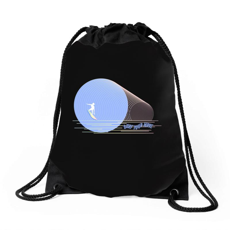 Surfing Boy Abstract Drawstring Bags | Artistshot