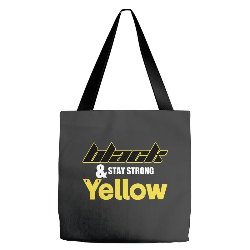 Black And Stay Strong Yellow Tote Bags | Artistshot