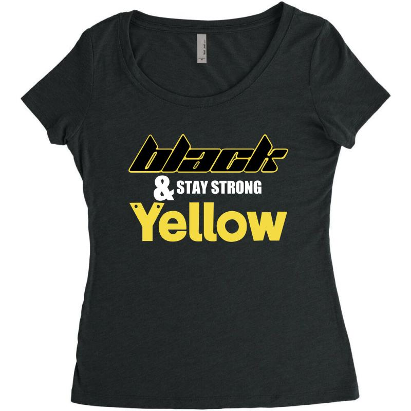 Black And Stay Strong Yellow Women's Triblend Scoop T-shirt | Artistshot