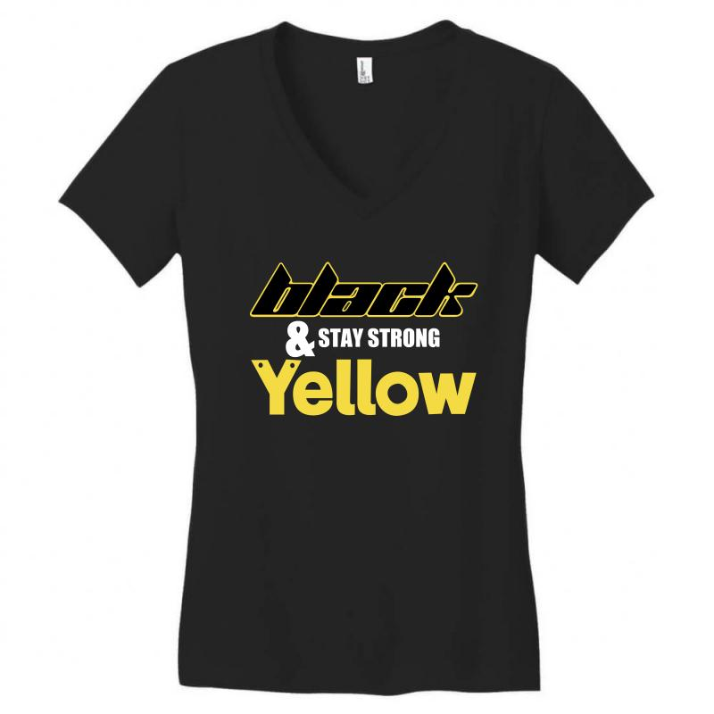 Black And Stay Strong Yellow Women's V-neck T-shirt | Artistshot