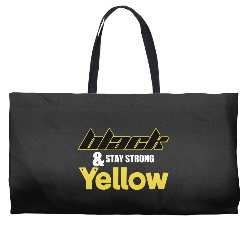 Black And Stay Strong Yellow Weekender Totes | Artistshot