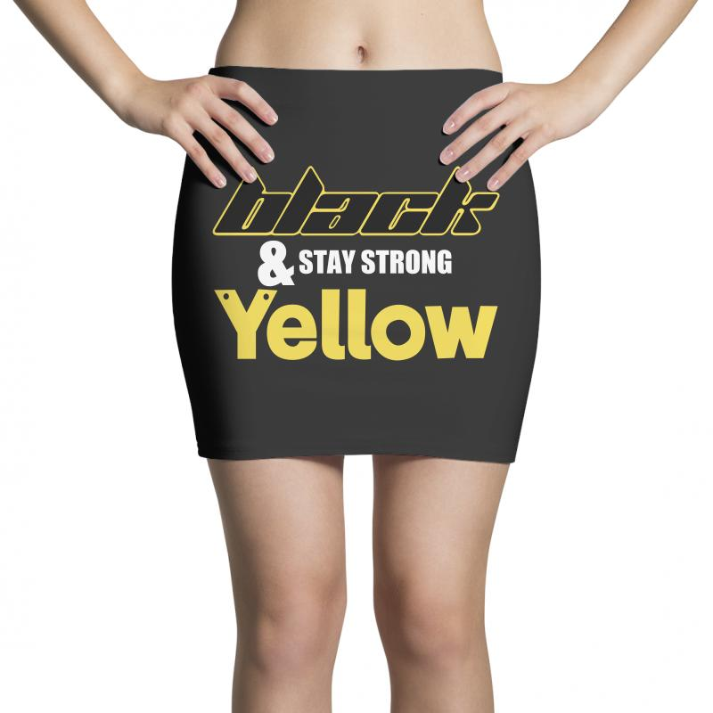 Black And Stay Strong Yellow Mini Skirts | Artistshot