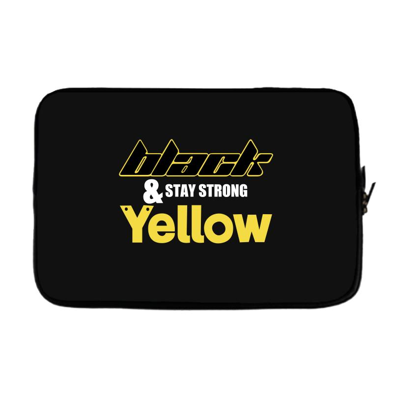 Black And Stay Strong Yellow Laptop Sleeve | Artistshot
