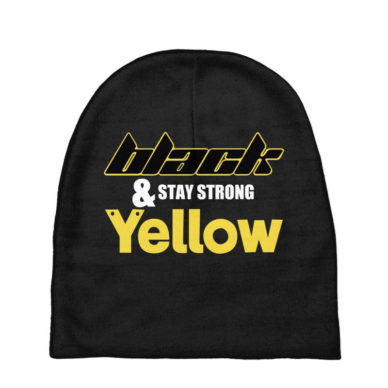 Black And Stay Strong Yellow Baby Beanies | Artistshot