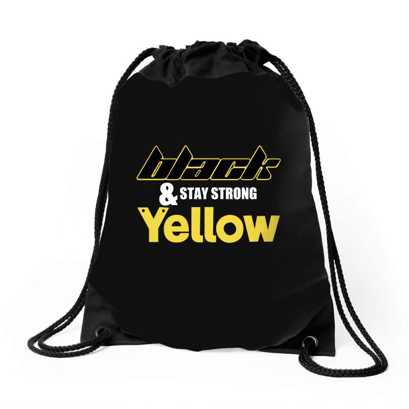 Black And Stay Strong Yellow Drawstring Bags | Artistshot