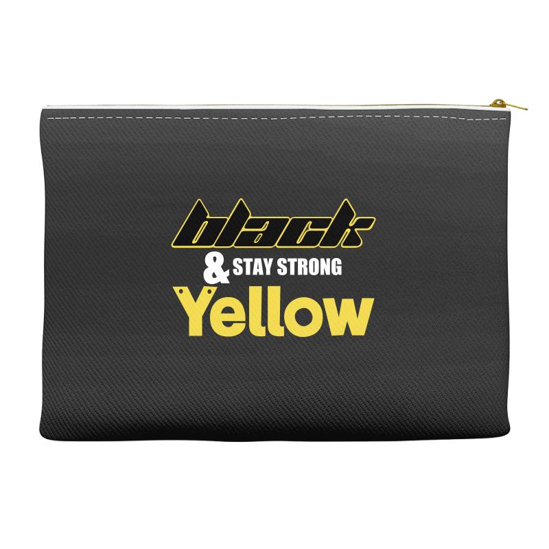 Black And Stay Strong Yellow Accessory Pouches | Artistshot