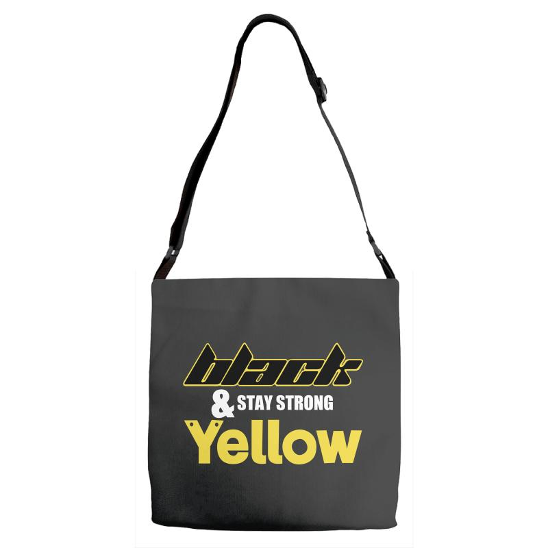 Black And Stay Strong Yellow Adjustable Strap Totes | Artistshot