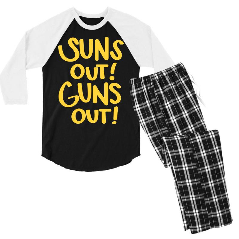 Sun's Out Guns Out Men's 3/4 Sleeve Pajama Set | Artistshot
