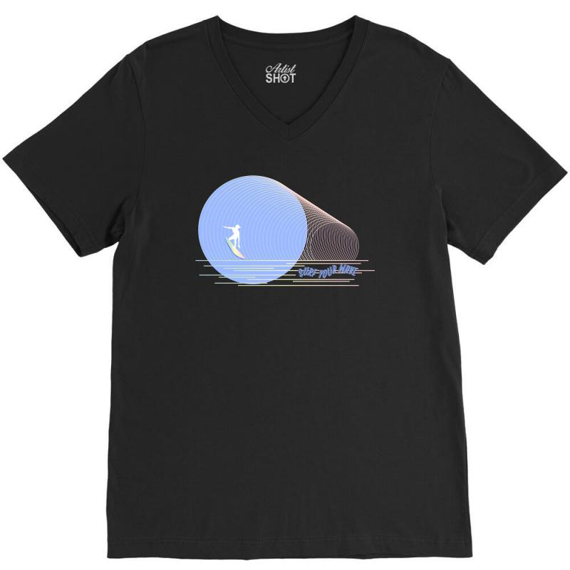 Surfing Boy Abstract V-neck Tee | Artistshot