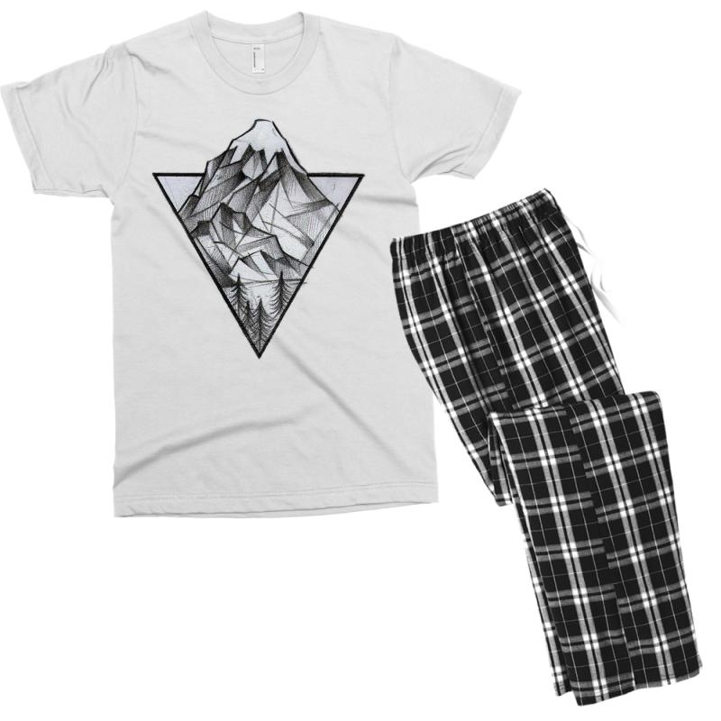 Triangle Mountain Men's T-shirt Pajama Set | Artistshot