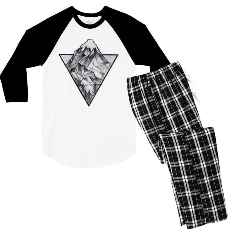 Triangle Mountain Men's 3/4 Sleeve Pajama Set | Artistshot