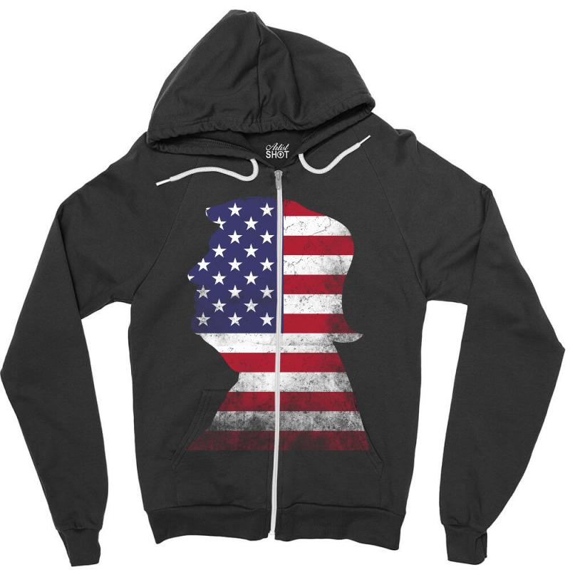 Trump And American Boarder Zipper Hoodie | Artistshot