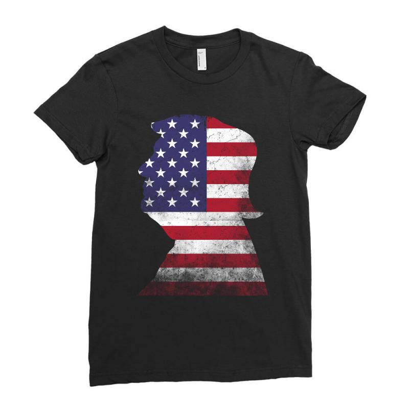Trump And American Boarder Ladies Fitted T-shirt | Artistshot