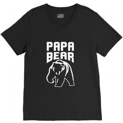 Papa Bear Limited V-neck Tee Designed By Mdk Art