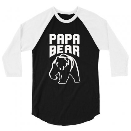 Papa Bear Limited 3/4 Sleeve Shirt Designed By Mdk Art