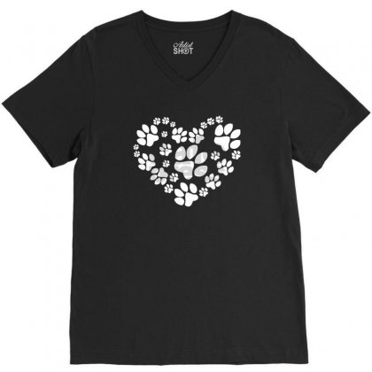 Paws Heart V-neck Tee Designed By Mdk Art