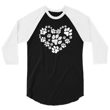 Paws Heart 3/4 Sleeve Shirt Designed By Mdk Art