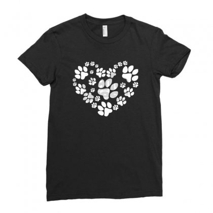 Paws Heart Ladies Fitted T-shirt Designed By Mdk Art