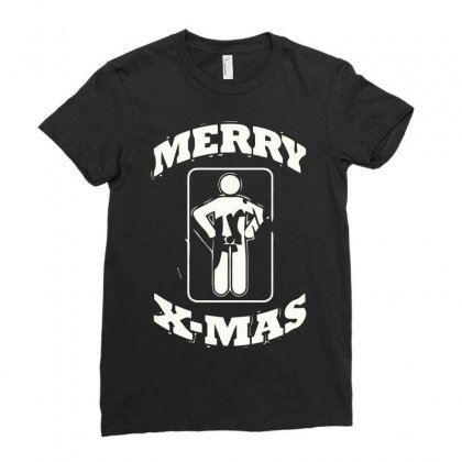 Merry Xmas Ladies Fitted T-shirt Designed By Mdk Art