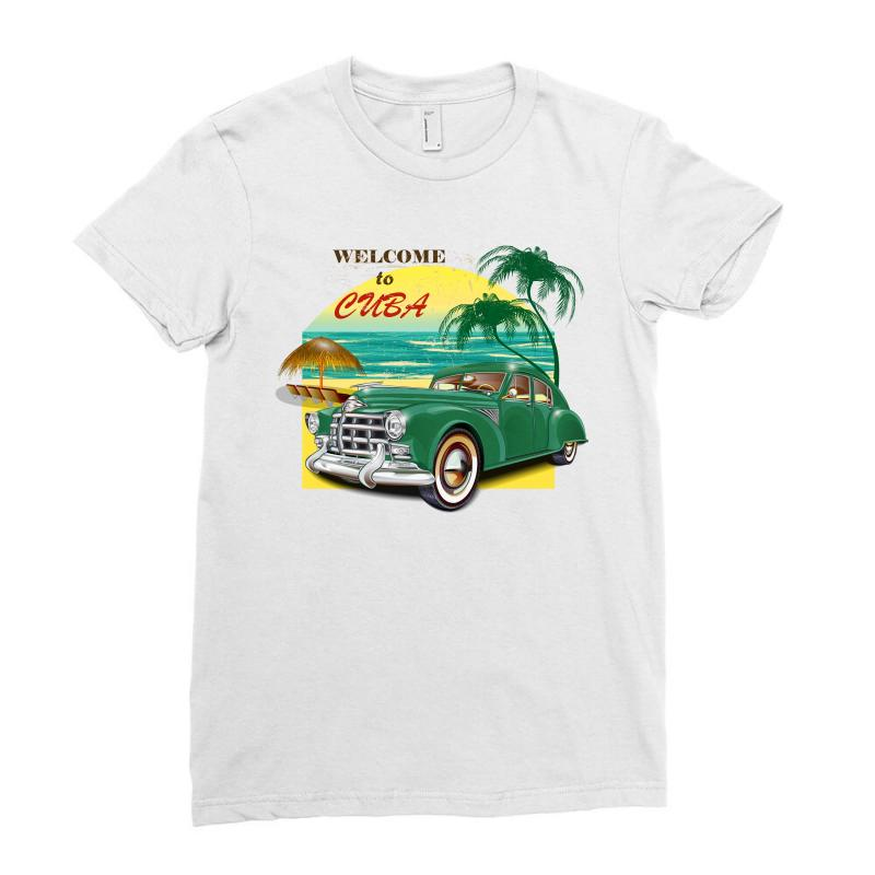 Welcome To Cuba Ladies Fitted T-shirt   Artistshot